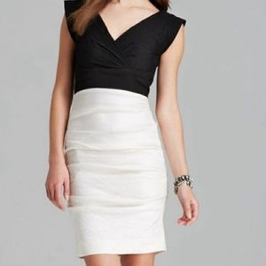 Artelier Nicole Miller Linen Colorblock Dress Sz 8